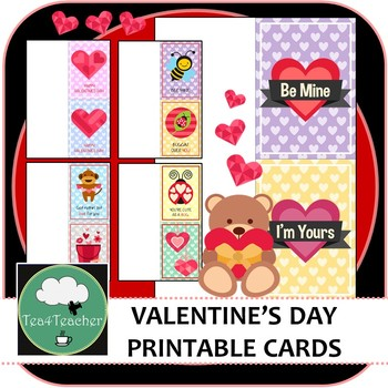 Valentines Day Student Cards - 40 Cute Printable Cards Ready to Print and Go