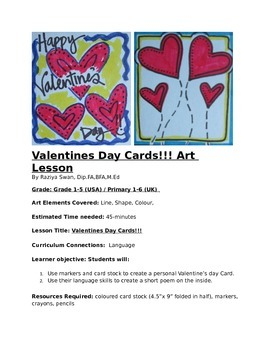 Valentines Day Cards!!! Art Lesson