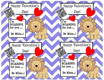 Valentine's Day Cards (Chevron/Lion) with Fun QR Codes