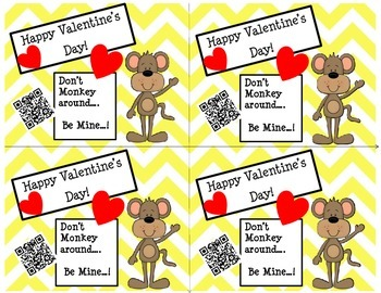 Valentine's Day Cards (Chevron/Monkey) with Fun QR Codes