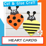 Valentines Day Cards: Heart Ladybug and Bee