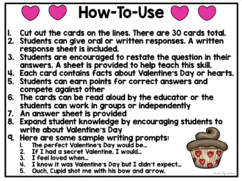 Valentine's Day Cards: Listening Comprehension Cards