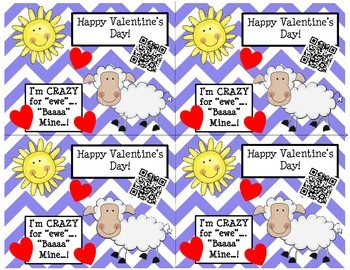 Valentine's Day Cards (Chevron/Sheep) with Fun QR Codes