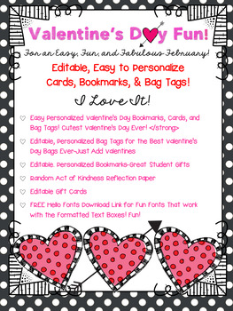 Valentine's Day Cards, Bookmarks, and Bag Tags. Editable!