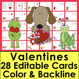 Editable Valentines - Color & Blackline! 28 Cards to Personalize Year After Year