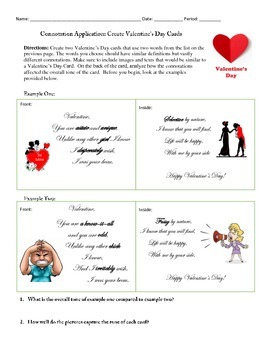 Valentine's Day Cards with Connotation Practice