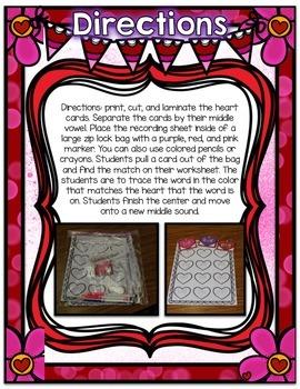 Valentine's Day Center ~ CVC Phonics