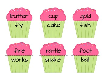 Valentine's Day Literacy Center - Compound Word Cupcakes