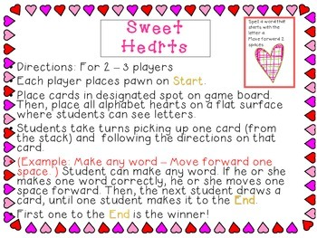 Valentine's Day CenterGame Board & Phonics Game for K-1st Grade: Spelling