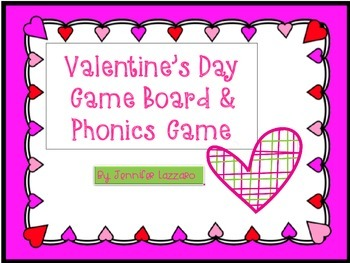 Valentine's Day CenterGame Board & Phonics Game for K-1st