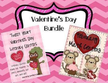 Valentine's Day Centers Bundle (Math & Literacy) 16 Centers
