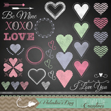 Valentine's Day Chalkboard Clipart Elements