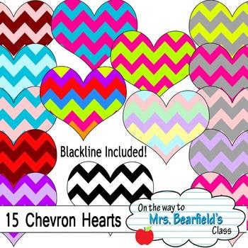 Valentine's Day Chevron Hearts