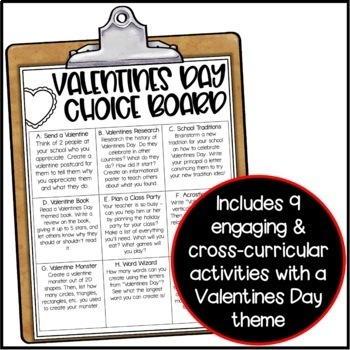 Valentines Day Choice Board - Morning Work or Early Finisher Activities