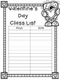 EDITABLE Valentine's Day Class List (Monster Theme)