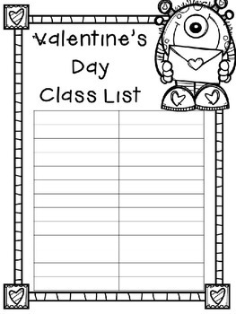 EDITABLE Valentine's Day Class List (Monster Theme)