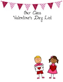Valentine's Day Class List {Editable File}