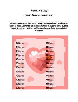 Valentine's Day Class List Template