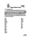Valentine's Day Class Names Parent Letter