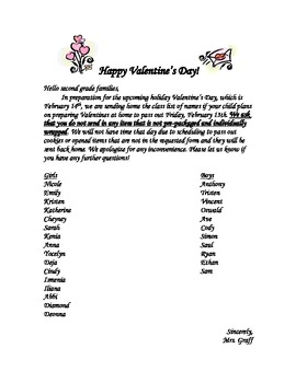 Valentine's Day Class Names Parent Letter