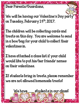 Valentines Day Class Party Letter