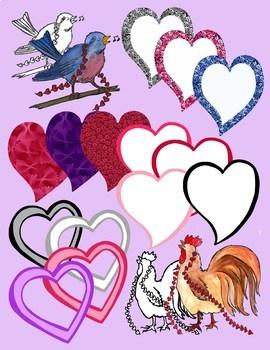 Valentine's Day Clip Art - Color and Black LIne Art .PNG's 300dpi