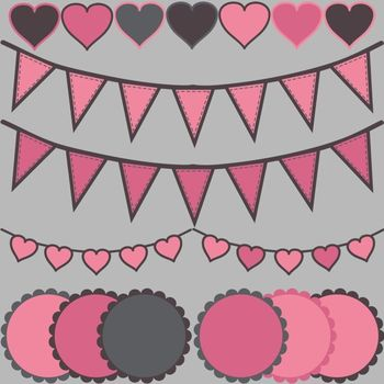 Valentine's Day Clip Art Accents ~ Hearts, Bunting, & Scalloped Circles