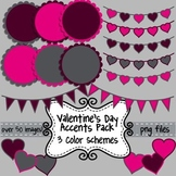 Valentine's Day Clip Art Accents ~ Hearts, Bunting, & Scal