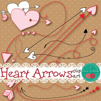Valentine's Day Clip Art - Arrows with Hearts {Commercial Use}