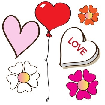 Valentines Day Clip Art - Flowers + Balloons + Hearts Clip Art - 26 Piece Set