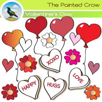 Valentines Day Clip Art - Flowers + Balloons + Hearts Clip Art - 26 Piece Set