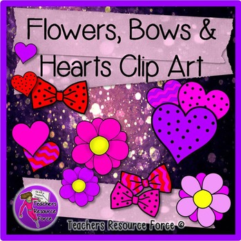 Flowers, Bows & Hearts clip art