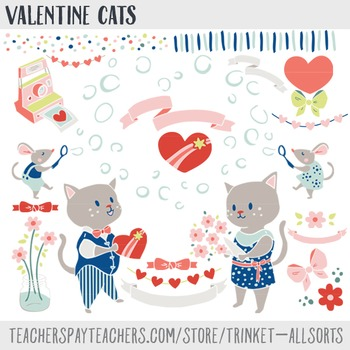 Valentines Day Clip Art, Heart Clipart, Valentine Cats, Cute cat clipart