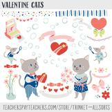 Valentines Day Clip Art, Heart Clipart, Valentine Cats, Cu