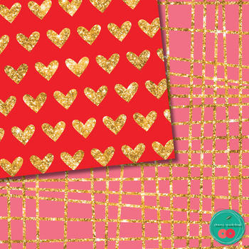 Valentine's Day Digital Paper Glitter, Red, Pink and Golden Digital