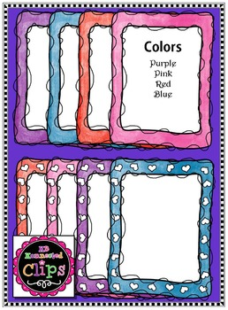 Valentine's Day Clip Art - Watercolor Doodle Frames