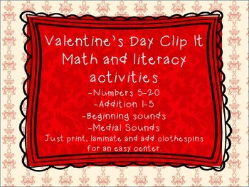 Valentine's Day Clip It: math and literacy centers