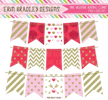 Valentines Day Clipart - Bunting in Red Pink & Gold