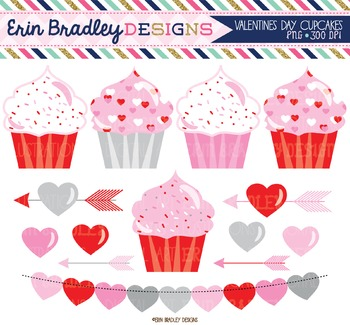 Valentines Day Clipart - Cupcakes Hearts & Arrows