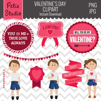 Valentine's Day Clipart // Valentine's Day Sayings // Heart Clipart - EV104