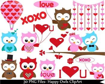 Kawaii Owls Clipart-  Digital Clip Art (021)