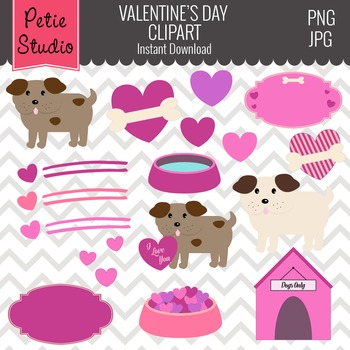 Valentine's Day Clipart with Cute Dogs and Hearts - Animals104