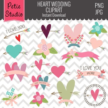 Valentine's Day Clipart with Hearts and Flowers - EV109