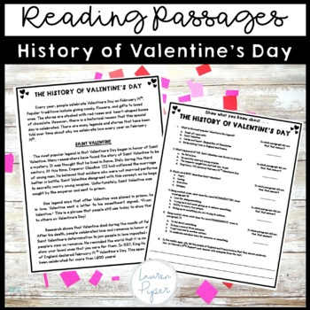 Valentine's Day Close Reading Passages, Assessments, and Crafts