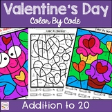 Valentines Day Color By Number Addition to 20