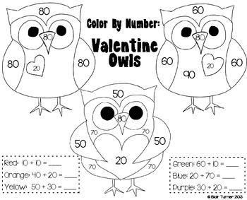 Valentine's Day Color By Number - Addition