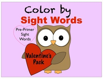 Valentine's Day Color By Sight Word Pack- No prep!