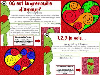 Valentine's Day Color Hearts Bingo and Vocabulary Buidling Games - French