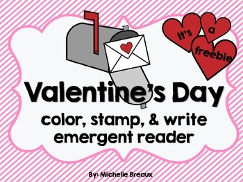 Valentine's Day Color Stamping Emergent Reader Pre K, K, 1, Special Education