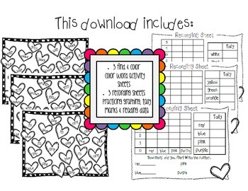 Valentine's Day Color Words Activities